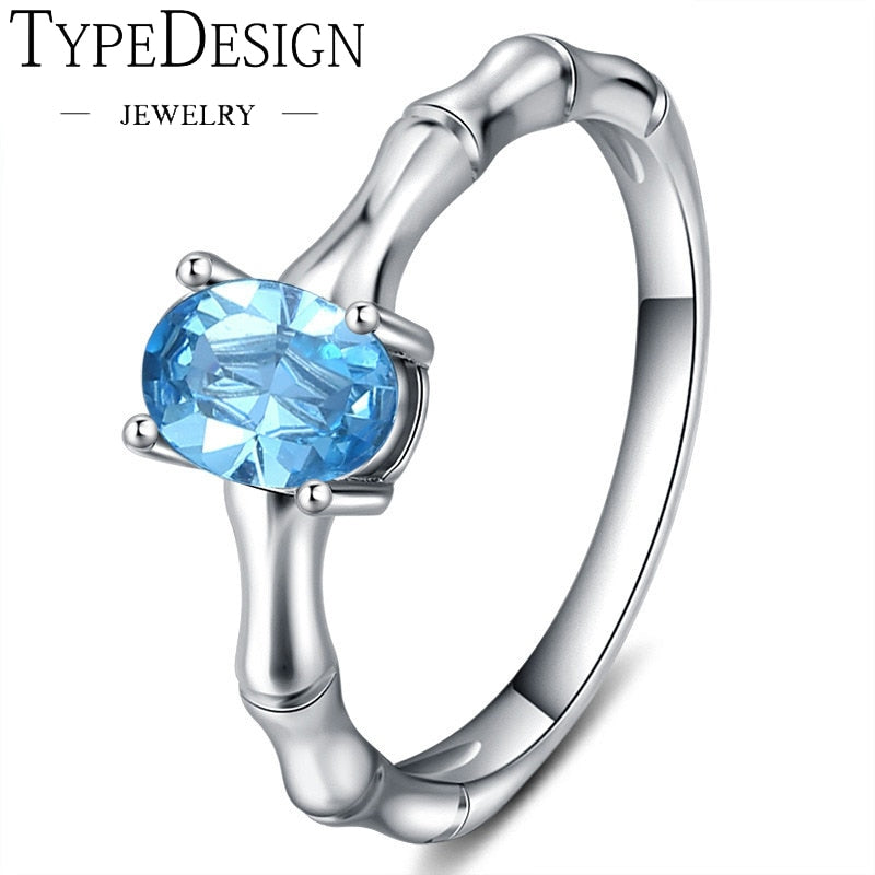 TYPE JEWELRY creative sluice ring carat natural Aquamarine Ring plated 18K engagement ring female Wedding ring