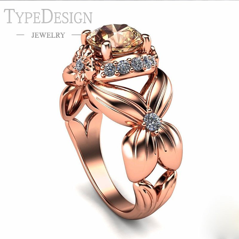TYPE JEWELRY fashion butterfly ring with micro mount zircon For women