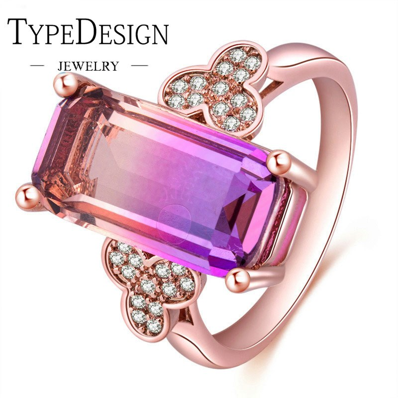 TYPE JEWELRY lovely flower tourmaline zircon ring for women