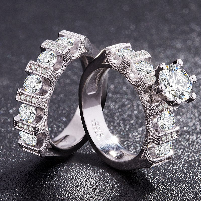 TYPEDESIGN jewelry Fashion temperament personality zircon ring lovers, high-grade platinum plated set of rings for women