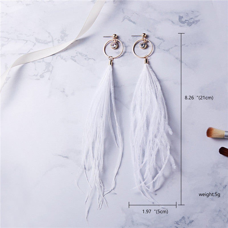 Tassel Dangle Long Earrings For Women Owl Leaf feather earrings Brincos Bijoux Jewelry Wedding Earrings Bride Jewelry