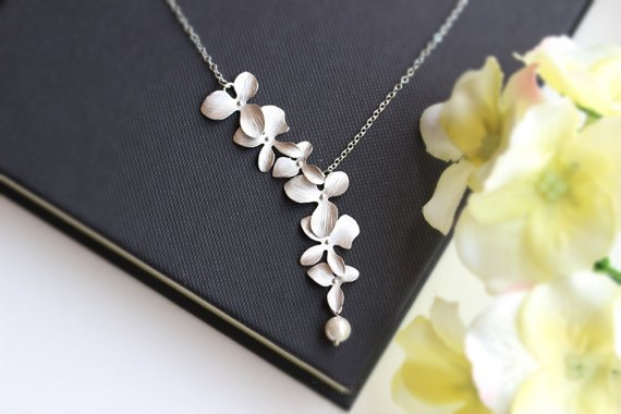 Orchid Flower with Simulated Pearl Necklace Pendant Charm Long Chain Collars Necklace for Women Chic Party Gift Jewelry