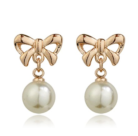 Top Quality Bowknot Imitation Pearl Earrings Rose Gold Color Fashion Jewelry For Girl Party Wholesale ZYE116 ZYE117