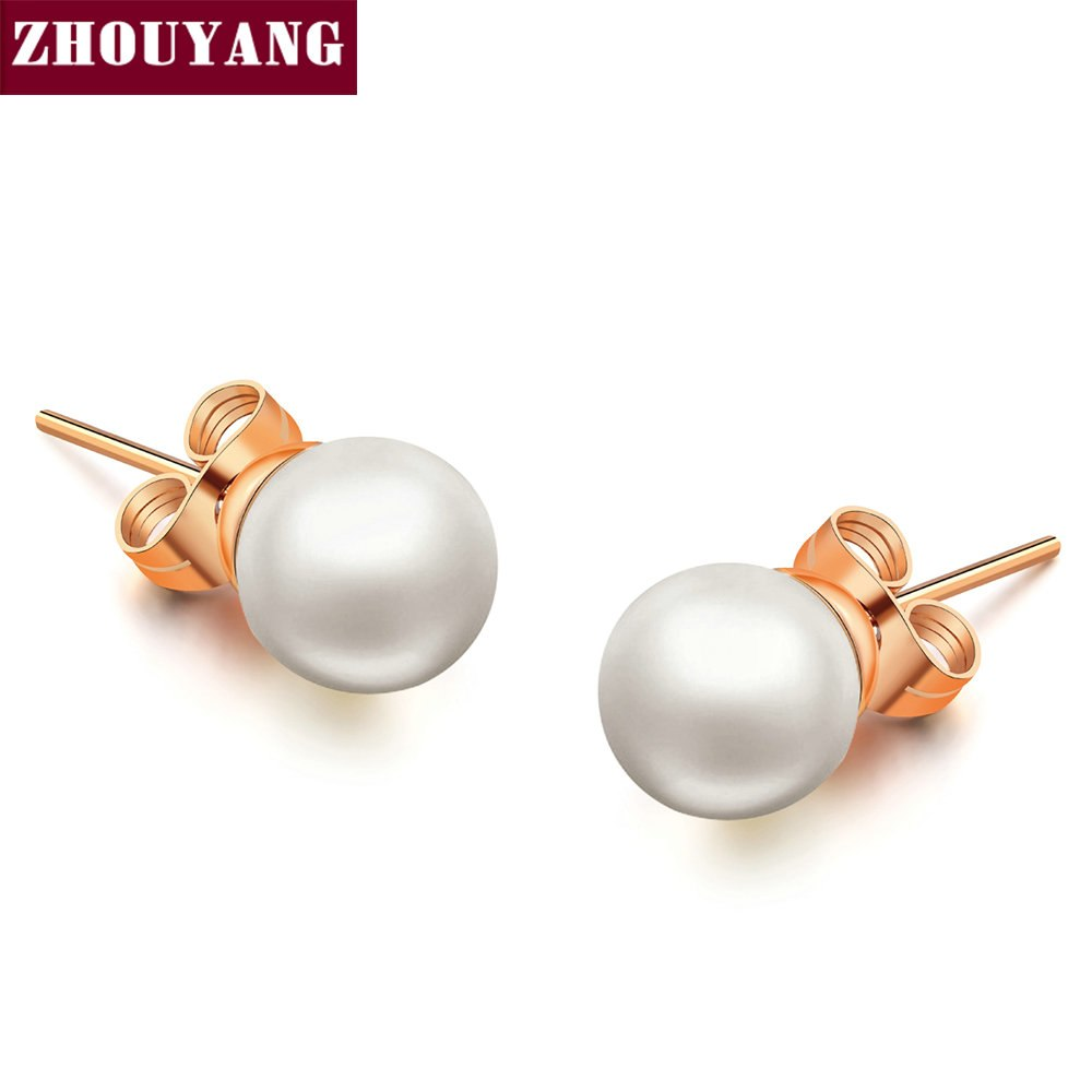 Top Quality Classic Little Imitation Pearl Rose Gold Color Earring Wholesale ZYE330 ZYE349