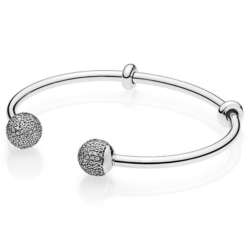 Top Quality MOMENTS Open Bangle Pave Caps WIth Cubic Zirconia Bangle Bracelet Fit Bead Charm 925 Sterling Silver Pandora Jewelry