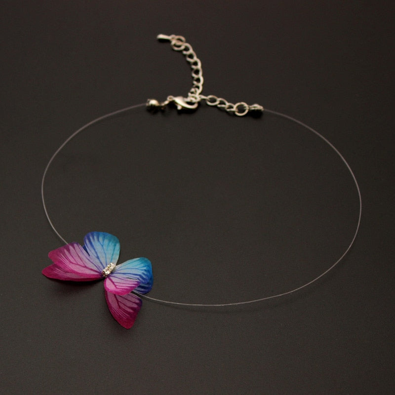 Transparent Invisible Fishing Line Chain Choker Necklace Women Multicolor Butterfly Pendant Necklaces Charm Collana Jewelry