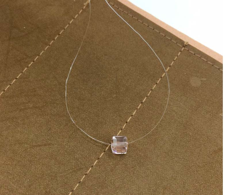 Transparent Invisible Line Square Crystal Choker Necklace Women Simple Necklaces & Pendants Jewelry Cute Gift Wholesale