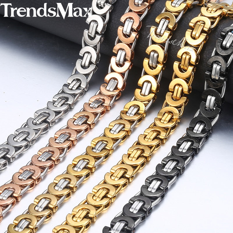 7/9/11mm Byzantine Necklace for Men Stainless Steel Chain Gold Silver Black 2018 Fashion Men Jewelry Gift 18-36 KNN23