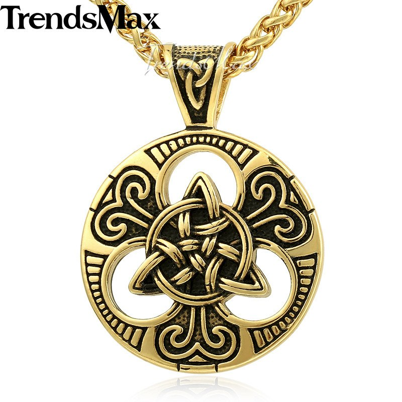 Knot Triquetra Mens Pendant Necklace Chain 316L Stainless Steel Wheat Link Silver Gold Tone KHP530