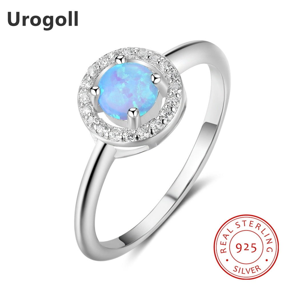 Trendy 925 Sterling Silver Fine Jewelry AAA Zirconia & Round Opal Rings For Women Luxury Engagement Wedding Jewelry Gifts