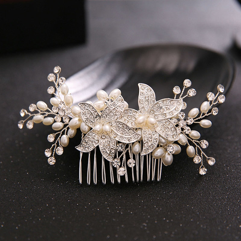 Trendy Crystal Pearl Hair Combs Wedding Bridal Hair Jewelry Ornament Head Piece Decoration Rhinestone Bride Hair Comb