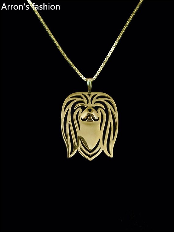 Trendy Pekingese Dog head pendant necklace women gold silver jewelry statement necklace cs go online shopping india wholesale