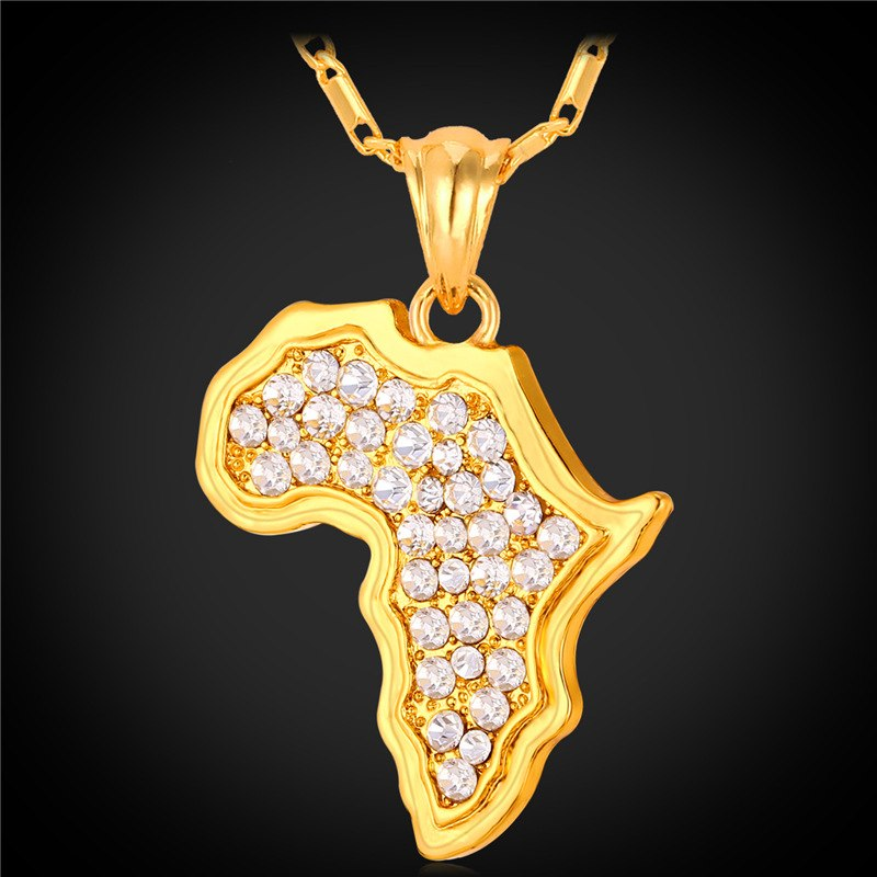 Africa Map Necklace Rhinestone Crystal Gold/Silver Color Pendant & Chain For Men/Women Gift African Jewelry Fashion P369