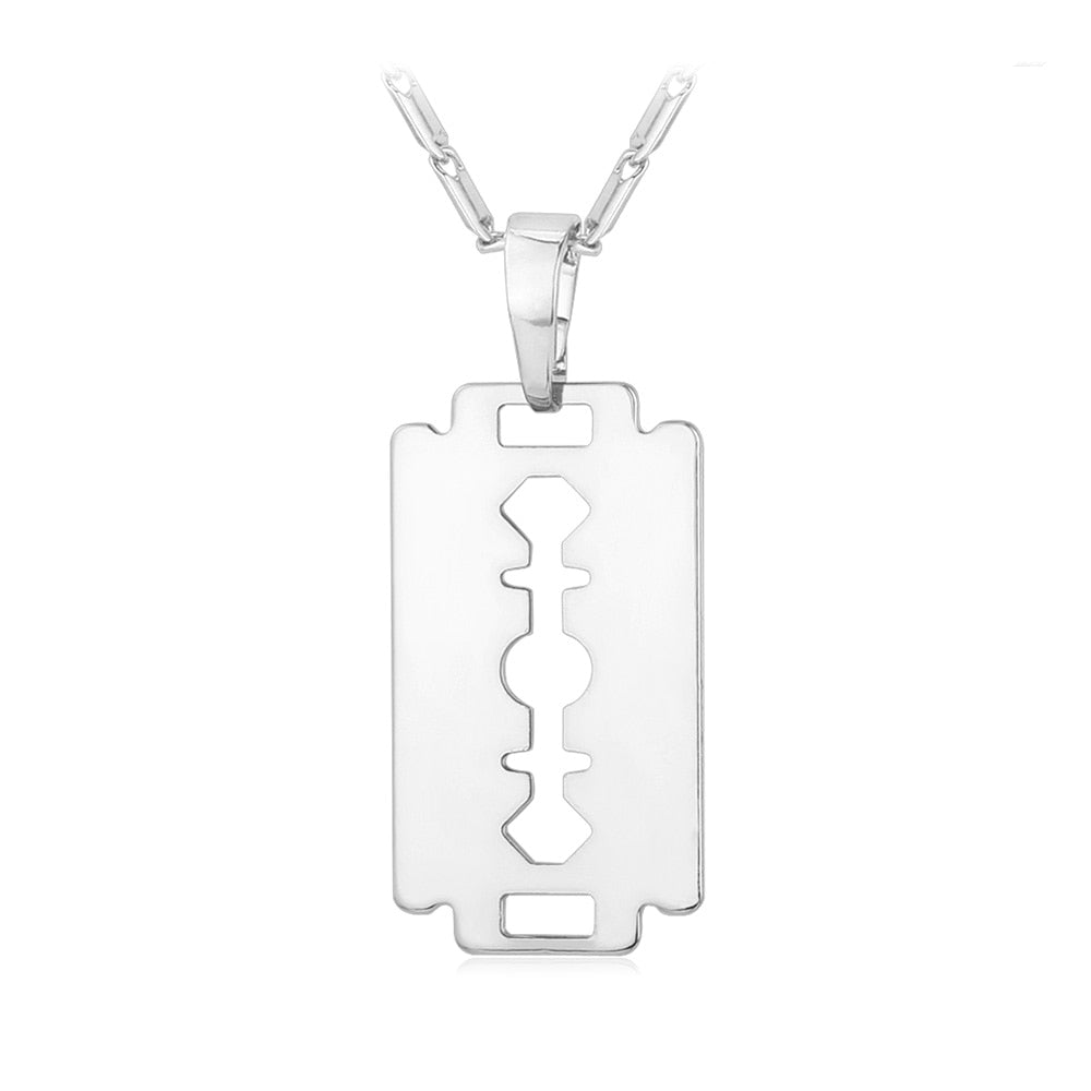 Razor Blade Necklace Men Jewelry Trendy Silver/Gold/Black Color Pendant & Chain Fathers Day Gifts For Dad P559