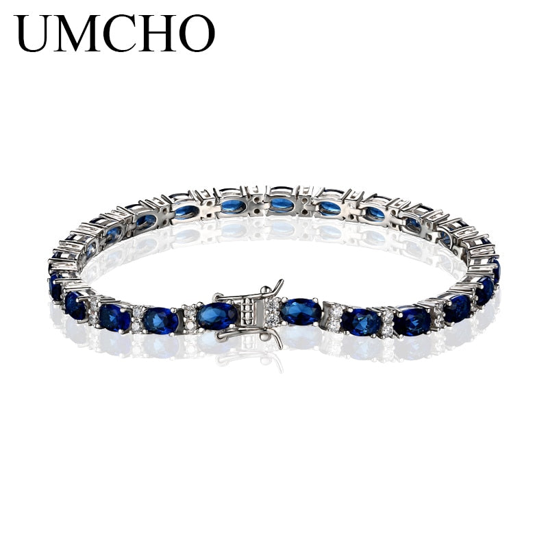 Created Blue Sapphire Bracelet For Women 100% 925 Sterling Silver Jewelry Romantic Wedding Jewelry Gift 2018 New