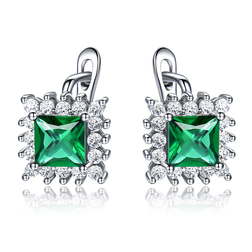 Luxury Vintage Green Emerald Clip Earrings For Women Solid 925 Sterling Silver Jewelry Classic Party Gift Fine Jewelry New