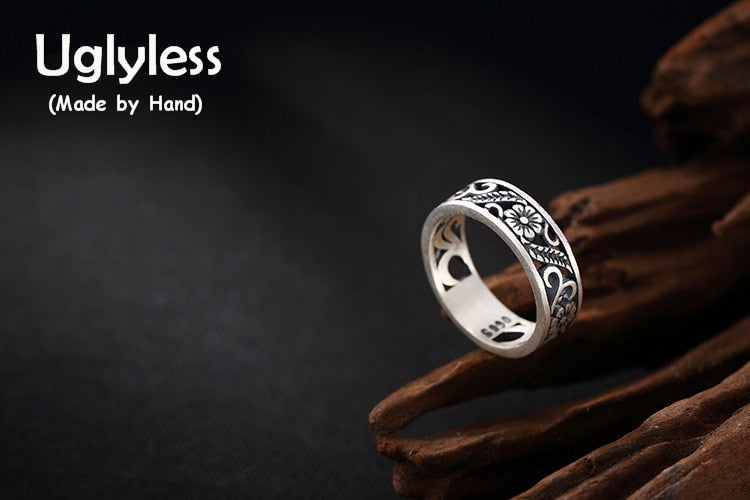 Real 990 Fine Silver Handmade Jewelry Engraved Vintage Hollow Women Open Finger Rings Romantic Plum Flower Ring Bijoux