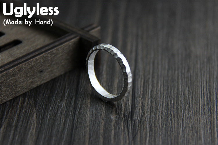 Real S999 Silver Lovers Finger Rings Personalize Handmade Uneven Surface Unisex Ring Open Women Bijoux Men Fine Jewelry