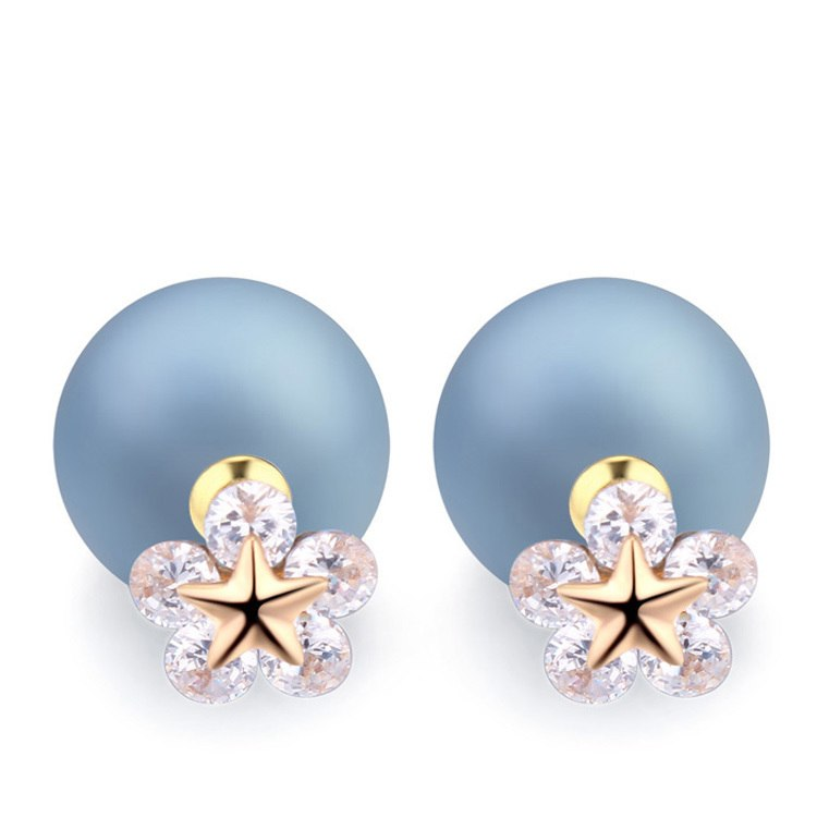 Unique AAA Cubic Zirconia Flower Stud Earrings Fashion Jewelry Rose Gold Color Double Sided Pearl Ball Earrings For Women