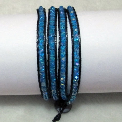 Unique Pearls jewellery Store, Offer Trendy Women Setting Lace-up Blue Color Crystal Handmade Wrap Bracelet Friendship