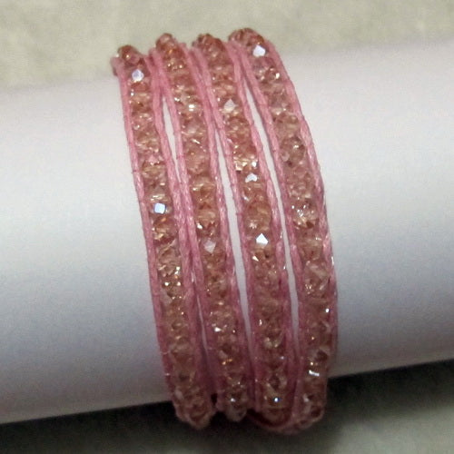 Unique Pearls jewellery Store, Offer Trendy Women Setting Lace-up Pink Crystal Handmade Wrap Bracelet Friendship