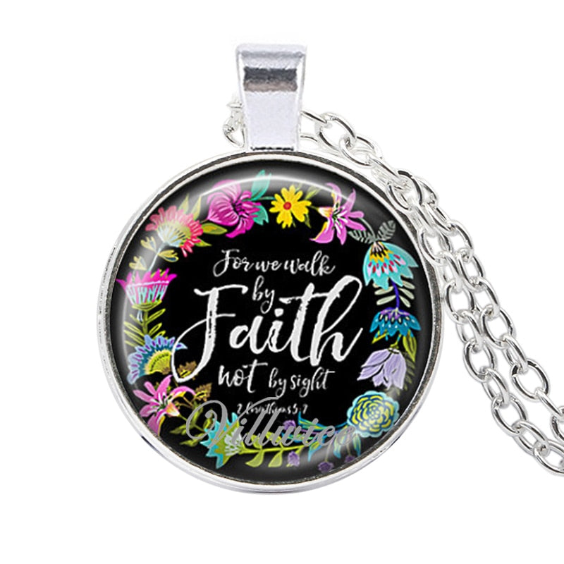 VILLWICE Bible Verses Scripture Necklace Silver Plated Pendant Necklace For Christian Quote Jewelry Party Favor Gifts NL0806