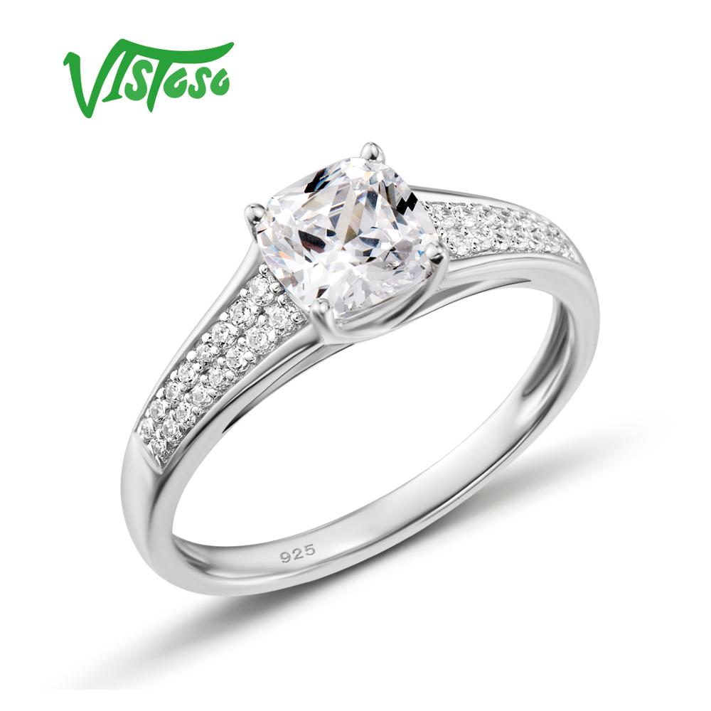 925 Sterling Silver Rings For Woman Sparkling White Cubic Zirconia Engagement Romantic Female Rings Fine Jewelry