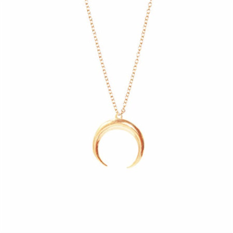 New Curved Moon pendants ladies Gold Silver simple necklace for women Jewelry Birthd Gifts