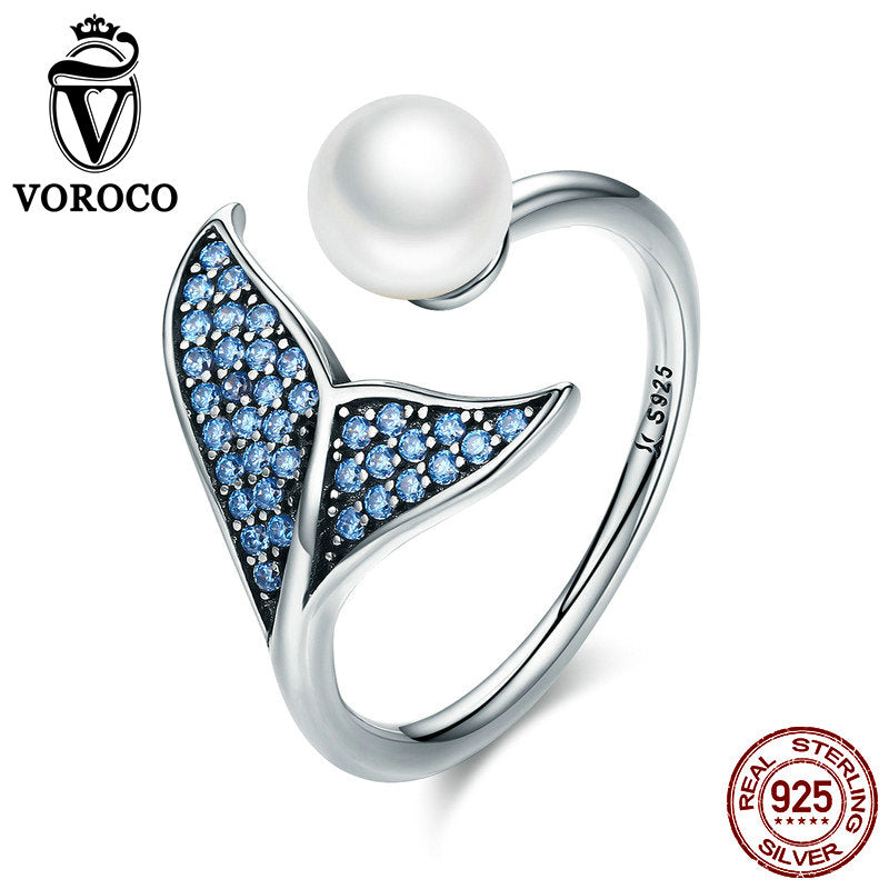 100% 925 Sterling Silver Rings Romantic Mermaid Tail Pearl Ring For Woman Female Blue CZ Stone Adjustable anillos BKR286