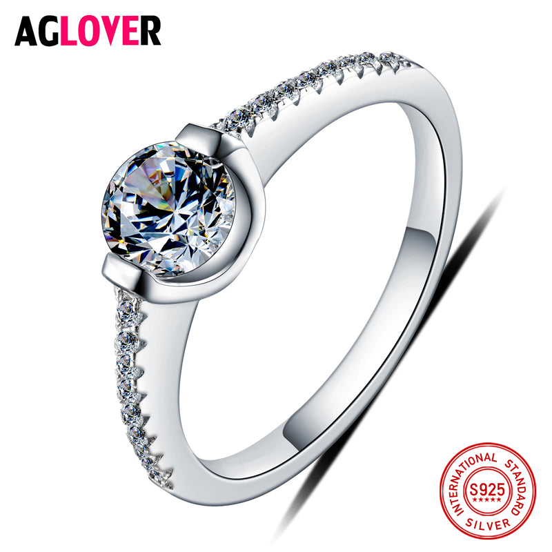 Valentine's D Gift Authentic 100% 925 Sterling Silver Ring AAA Crystal Ring Original Wedding Jewelry