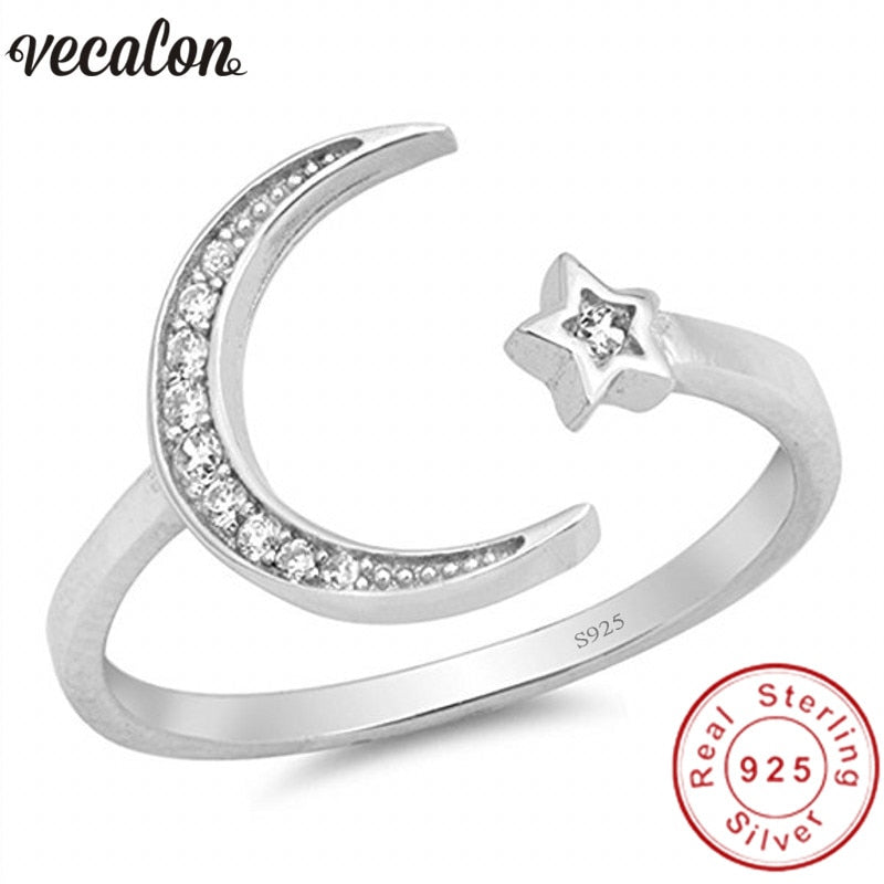 Star Moon shape 100% Soild 925 Sterling Silver ring 5A Zircon Cz Engagement wedding Band rings for women men Jewelry