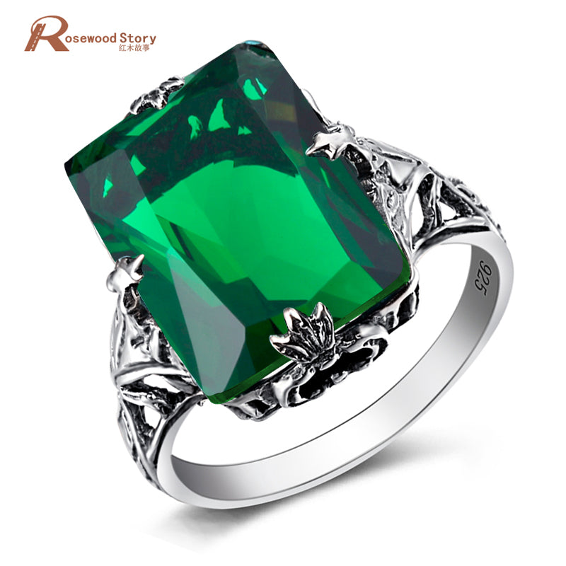 Victoria Wieck Rings Vintage Style 925 Sterling Silver 3.2Ct Round Created Emerald Ring Luxury Wedding Ring Square Cut Amazing
