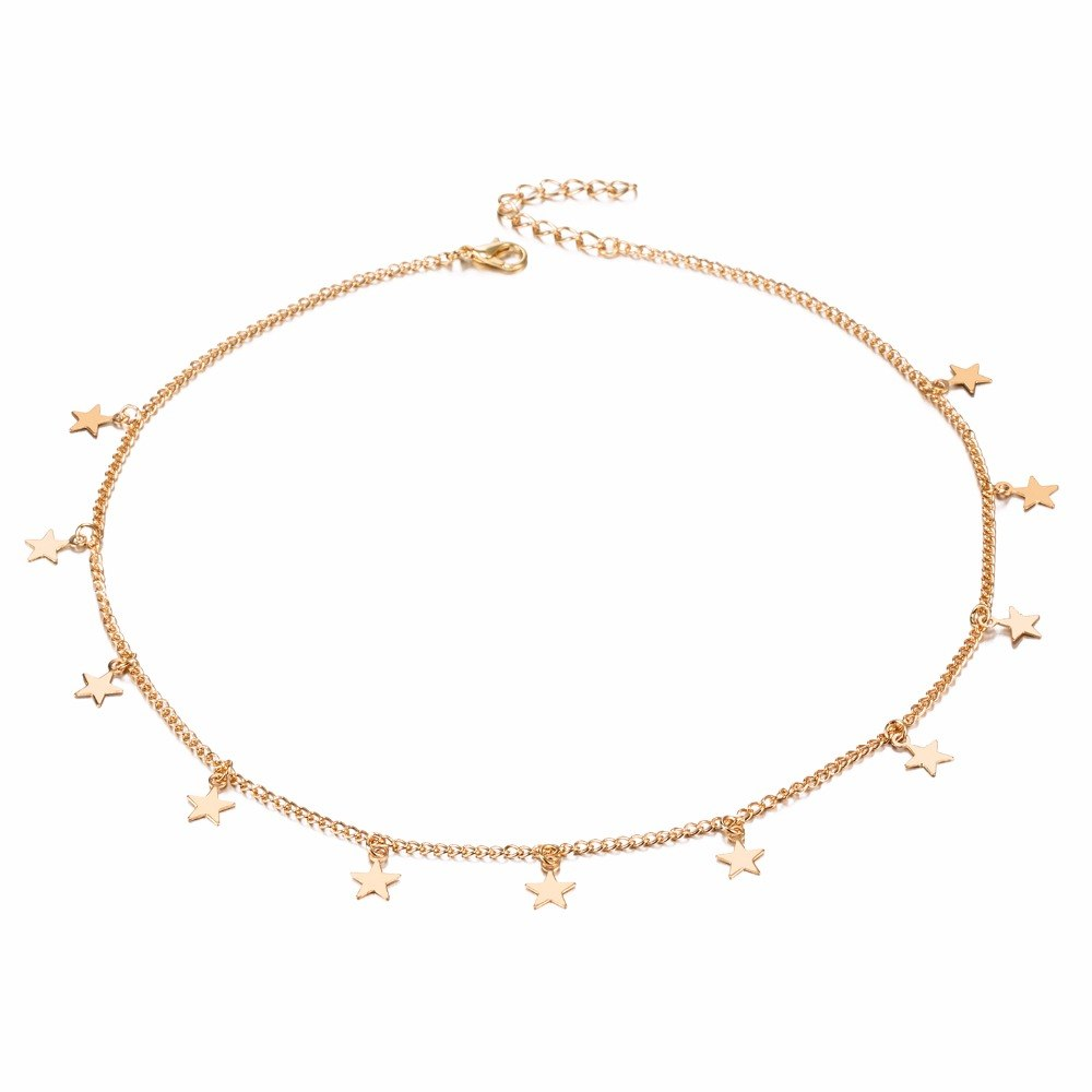 2020 Fashion Single Layers Necklace Gold Star Clavicle Chain And Personality Woman Necklace Fine Jewelry