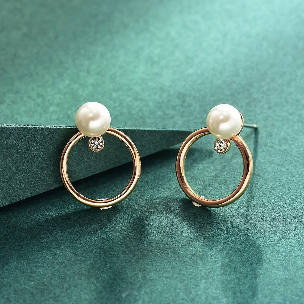 Fashion Jewelry Rose Gold Color Circle Stud Earrings for Woman Simulated Rhinestone Pearl Earrings