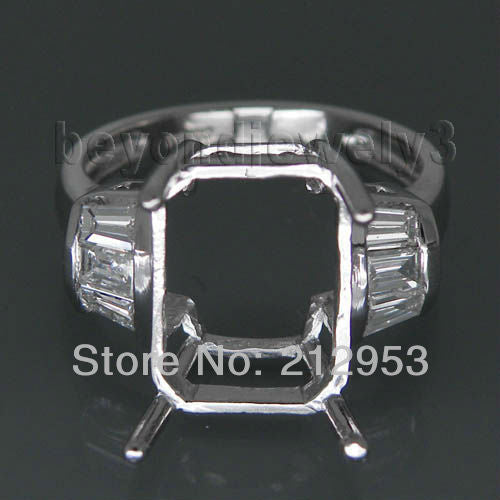 Vintage Emerald Cut 9x12mm PT900 Setting Platinum Wedding Rings WU043