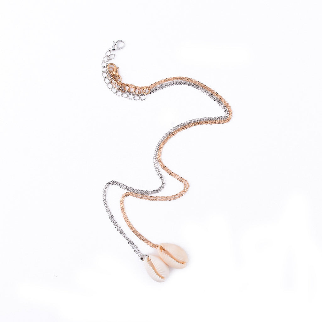 Vintage Fashion Gold Silver Alloy Puka Shell Shape Pendant Necklace For Women Simple Seashell Ocean Beach Boho Bohemian Jewelry