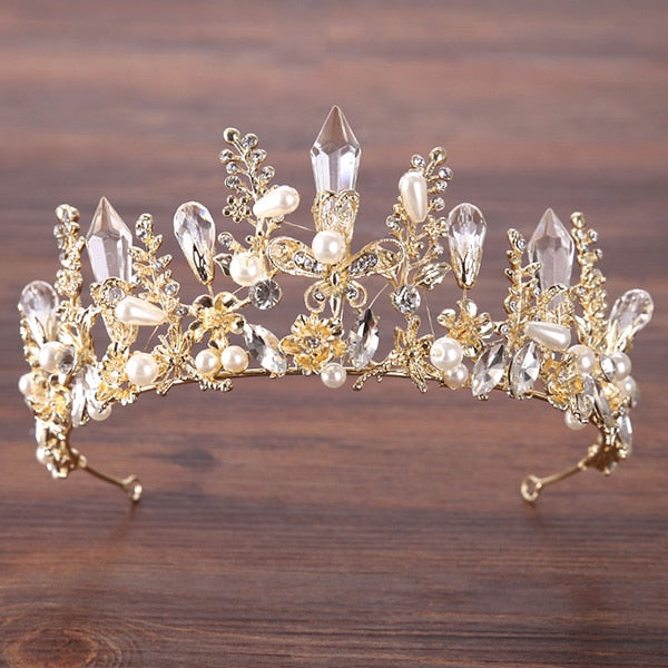 Vintage Gold Baroque Crystal Bride Wedding Crown tiara Hair Jewelry Accessories Pearl Queen Crown Bride Hair Accessories HG004