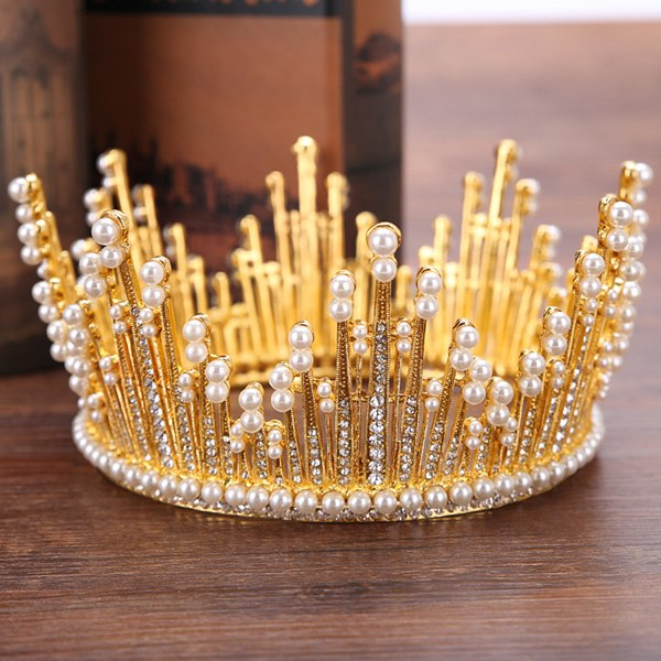 Vintage Gold Pearl Tiara Round Big Crown Crystal Rhinestones Bride Hair Jewelry Queen Crowns For Wedding Accessories Hairwear