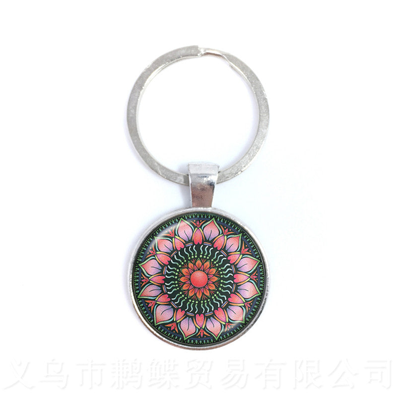 Vintage Jewelry Mandala Keychain Henna OM Symbol Buddhism Zen Online Shopping India 2020 Fashion Keyring For Men Women