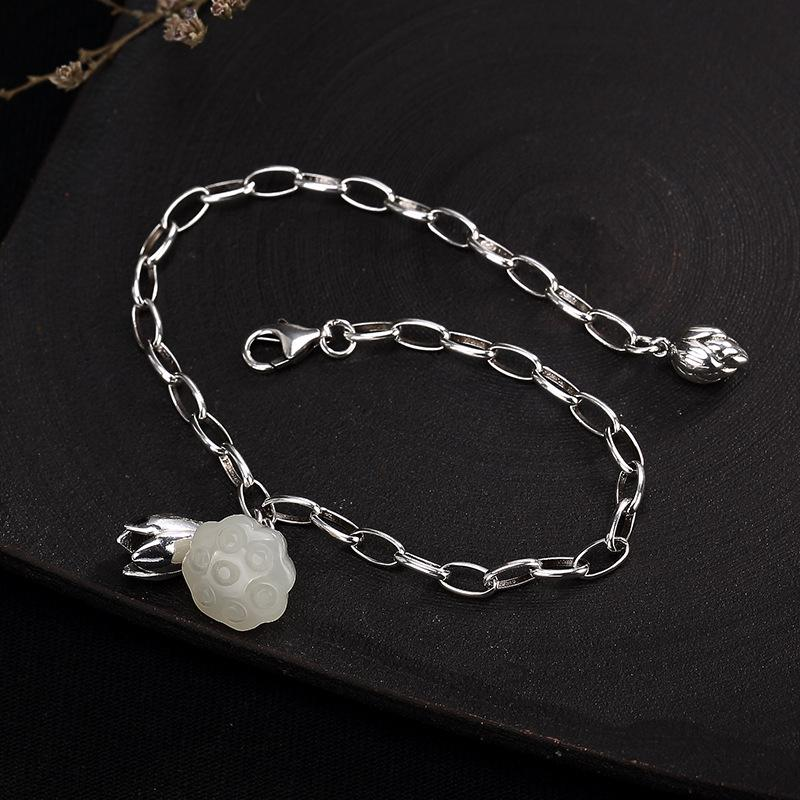 Vintage Lotus Flower Bracelet 925 Sterling Silver Hetian Jade Natural Gemstone Beautiful Chain Bracelets Armbandjes Dames