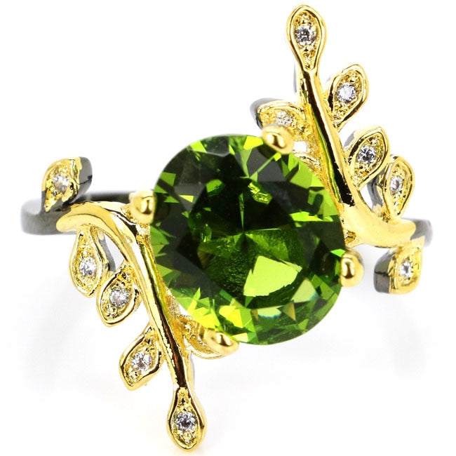 Vintage New Arrival Green Peridot, White CZ Leaf Black Gold 925 Silver Ring 25x20mm