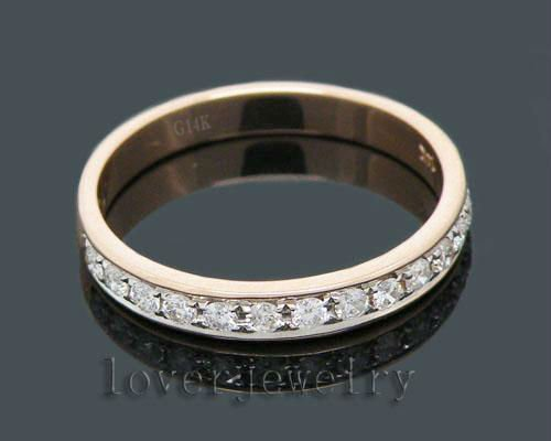 Vintage Nice! Solid 14Kt Rose Gold 0.30Ct Pave Diamond Band Wedding Ring For Sale