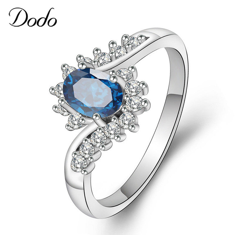 Vintage Oval Blue Crystal Wedding Rings for Women Silver Color Cubic Zircon anillos mujer anel Hot Finger Ring bague femme dm073