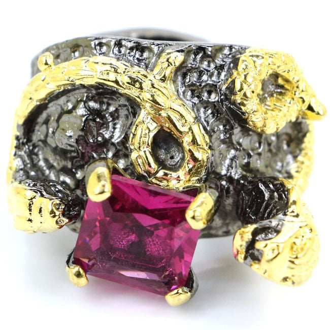 Vintage Style Pink Tourmaline Woman's Gift Black Gold Silver Ring 27x18mm