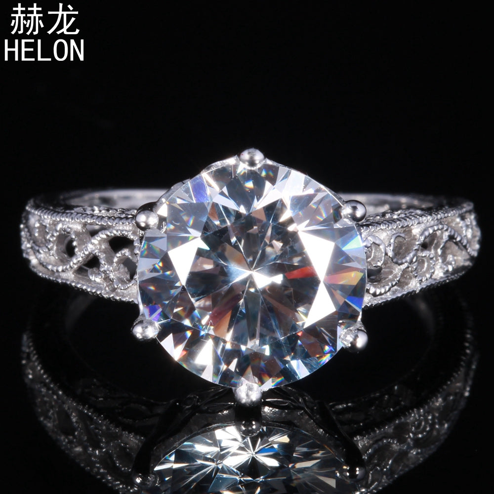 Vintage Unique Jewelry Solid 10k White Gold Flawless Round 10mm 100% Genuine AAA Graded Cubic Zirconia Engagement Wedding Ring