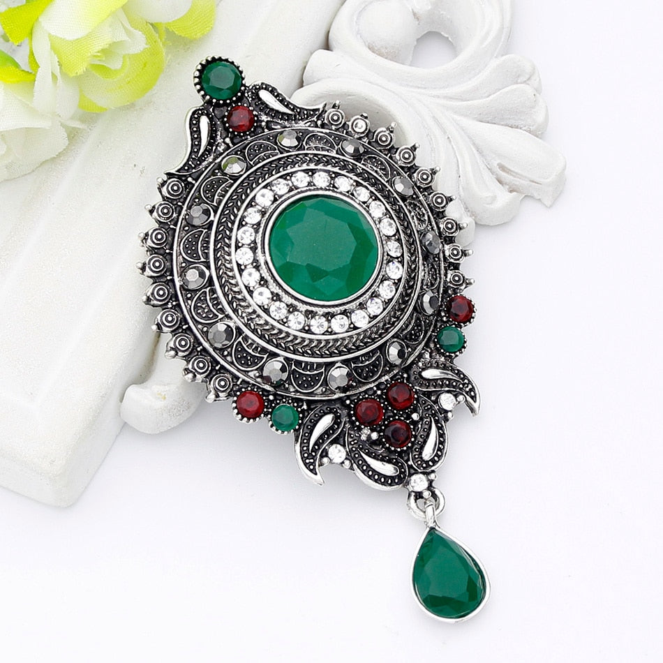 Vintage Women Red Resin Round Water Drop Brooch Pin Women Antique Silver Color Flower Corsage Jewelry India Bride Hijab Badge