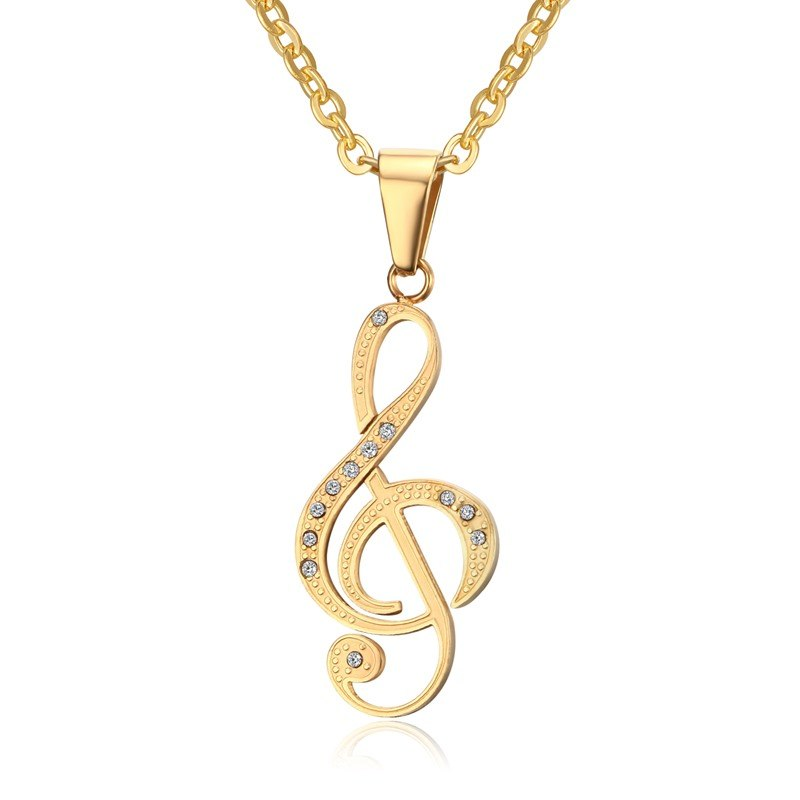 Vnox Musical Note Pendant Necklace for Women Stainless Steel Silver / Black / Gold Color 20 Chain