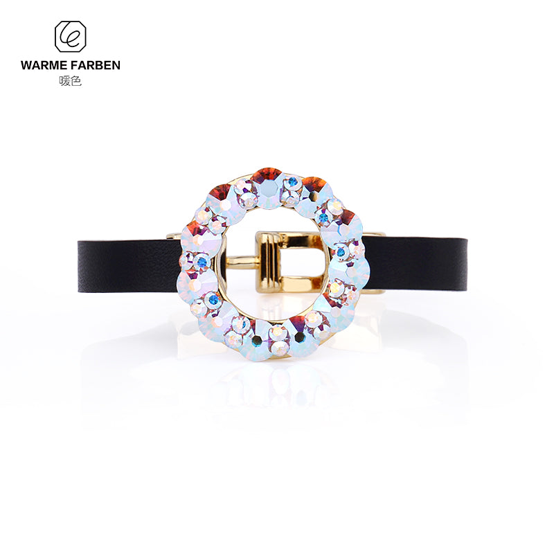 Crystal from Swarovski Bangle for Women Round Ring Colorful Crystal Design Leather Chain Bracelet Birthd Gift
