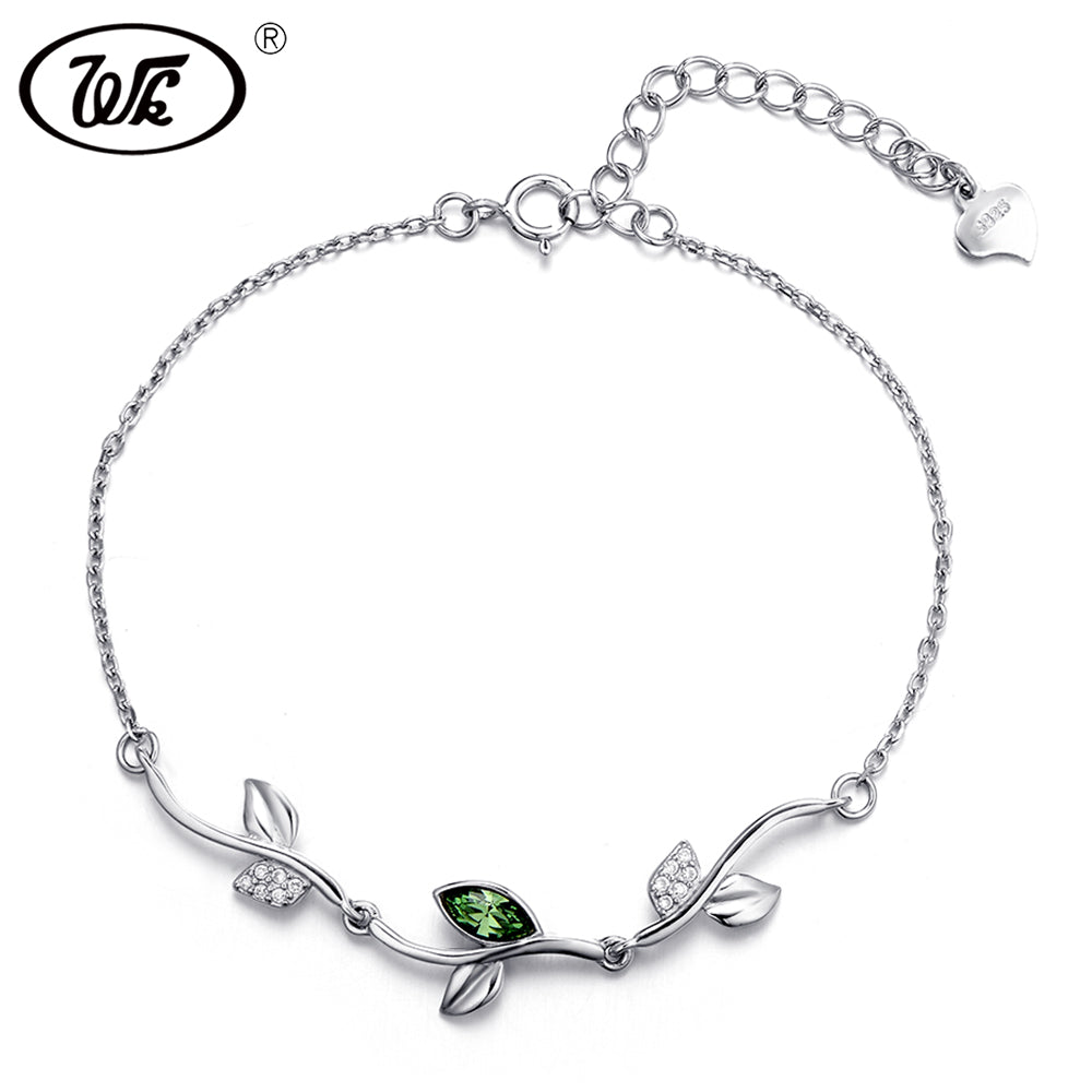 925 Sterling Silver Leaf Bracelet With Crystal Tree Branch Link Chain Bracelets For Women Girls Valentines D Gift W2 BA030
