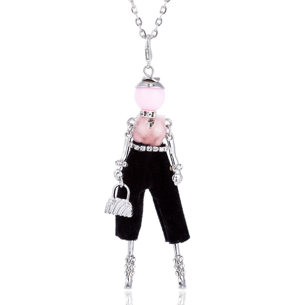 New Design Doll Necklace Pendant Silver Color Long Chain Rhinestone Necklaces With Bag for Women Girl Statement Jewelry